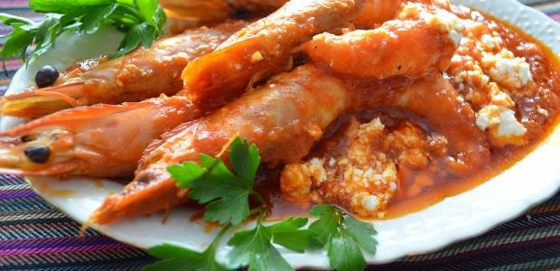 γαρίδες σαγανάκι με τυρί φέτα